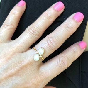 NLF Jewelry Jewelry - 14K Solid Gold Oval Pearl Women Ring Size 5.5